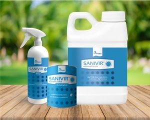 bodegon de producto azul Sanivir